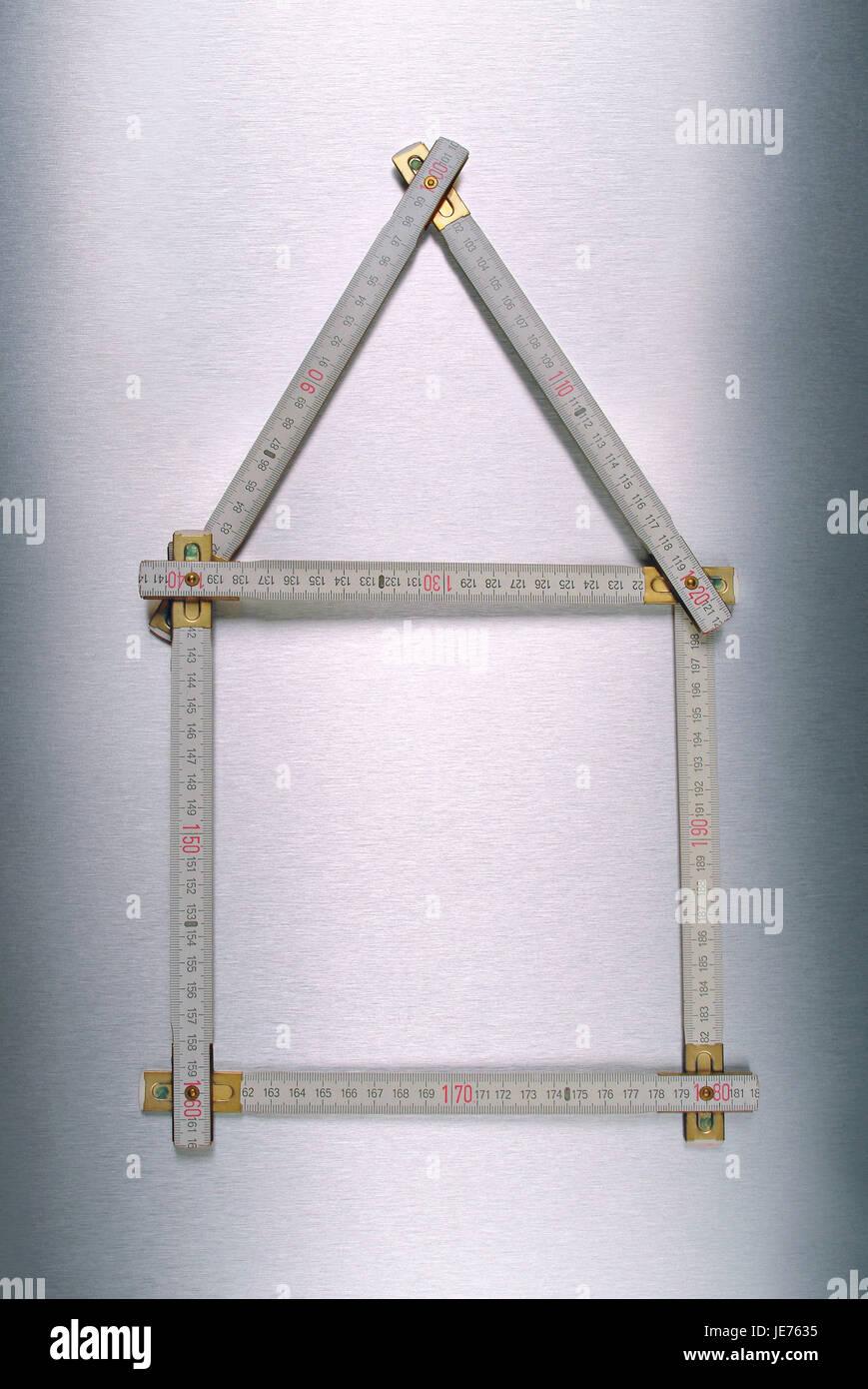 Folding rule, house, - Stock Image