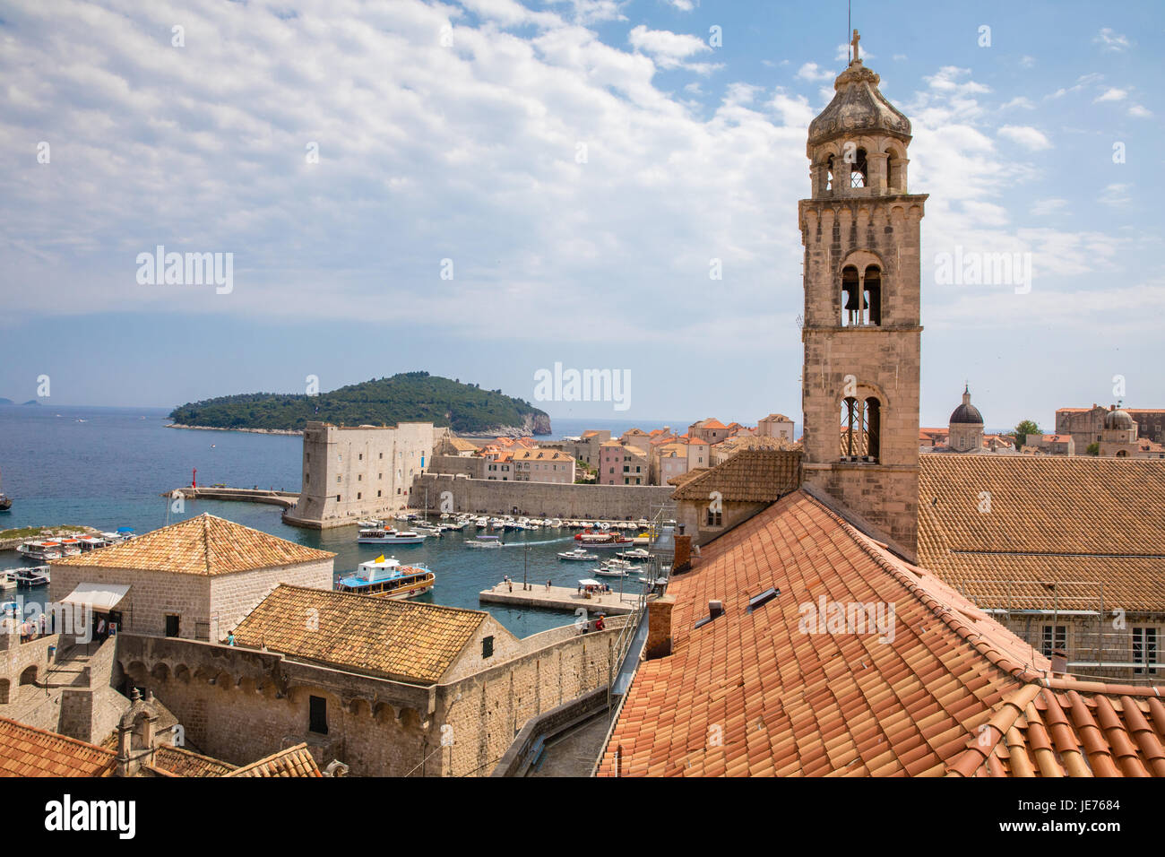 Bell tower of the Dominican monastery and museum overlooking the medieval city of Dubrovnik in Croatia - Stock Image