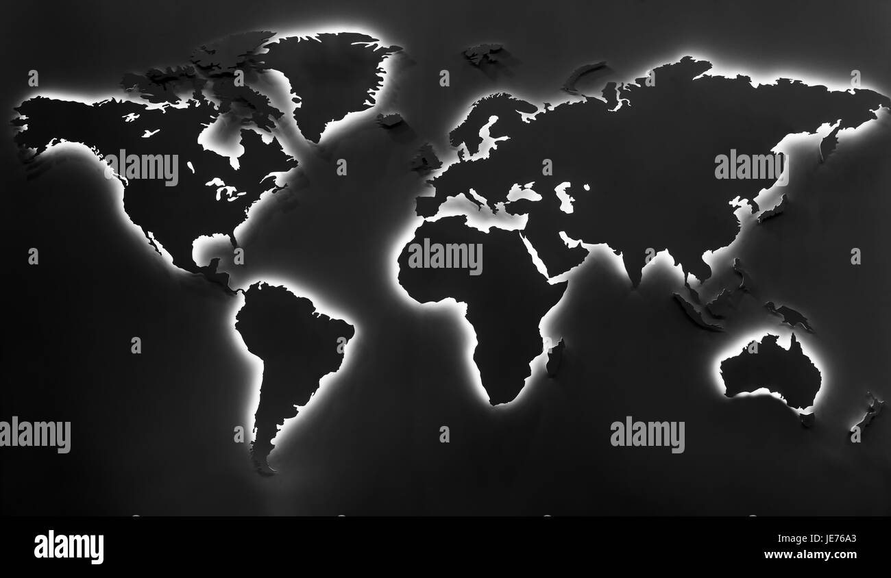 Illuminated earth map on black background continents shapes with illuminated earth map on black background continents shapes with cool white backlight gumiabroncs Image collections