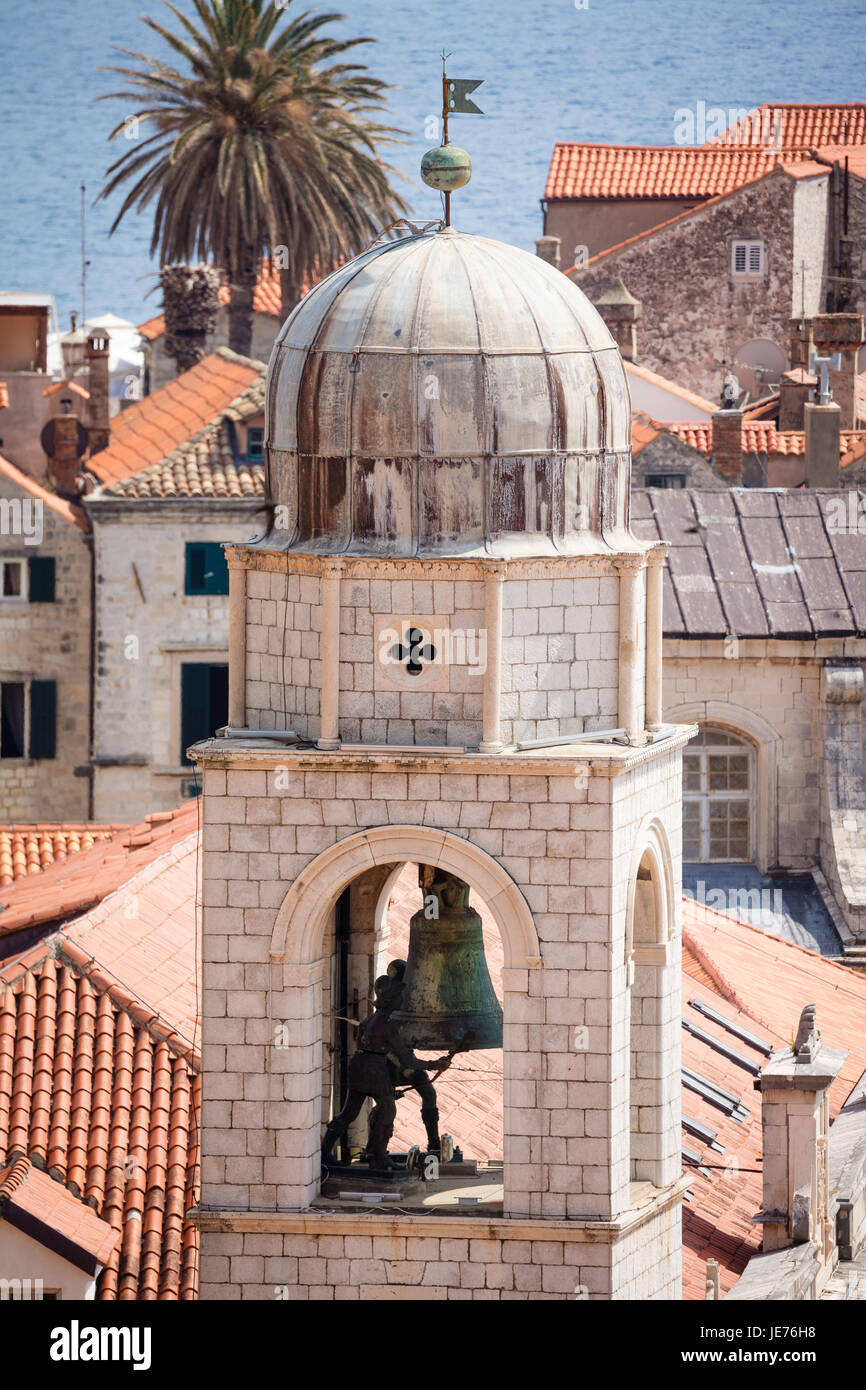Bell tower sounding the hours over the medieval city of Dubrovnik on the Dalmation coast of Croatia Stock Photo