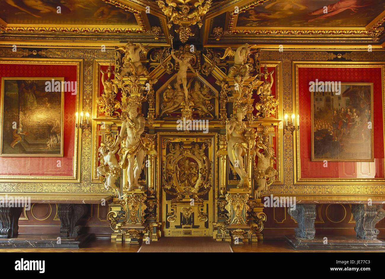 Germany, Lower Saxony, Bueckeburg, residence lock, golden hall, god's gate, Weser mountainous country, lock - Stock Image
