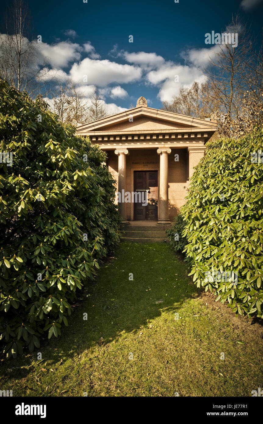 Germany, Hamburg, village Ohls, park cemetery, tomb, mausoleum, rest, recollection, cemetery, memory, memory cemetery, - Stock Image