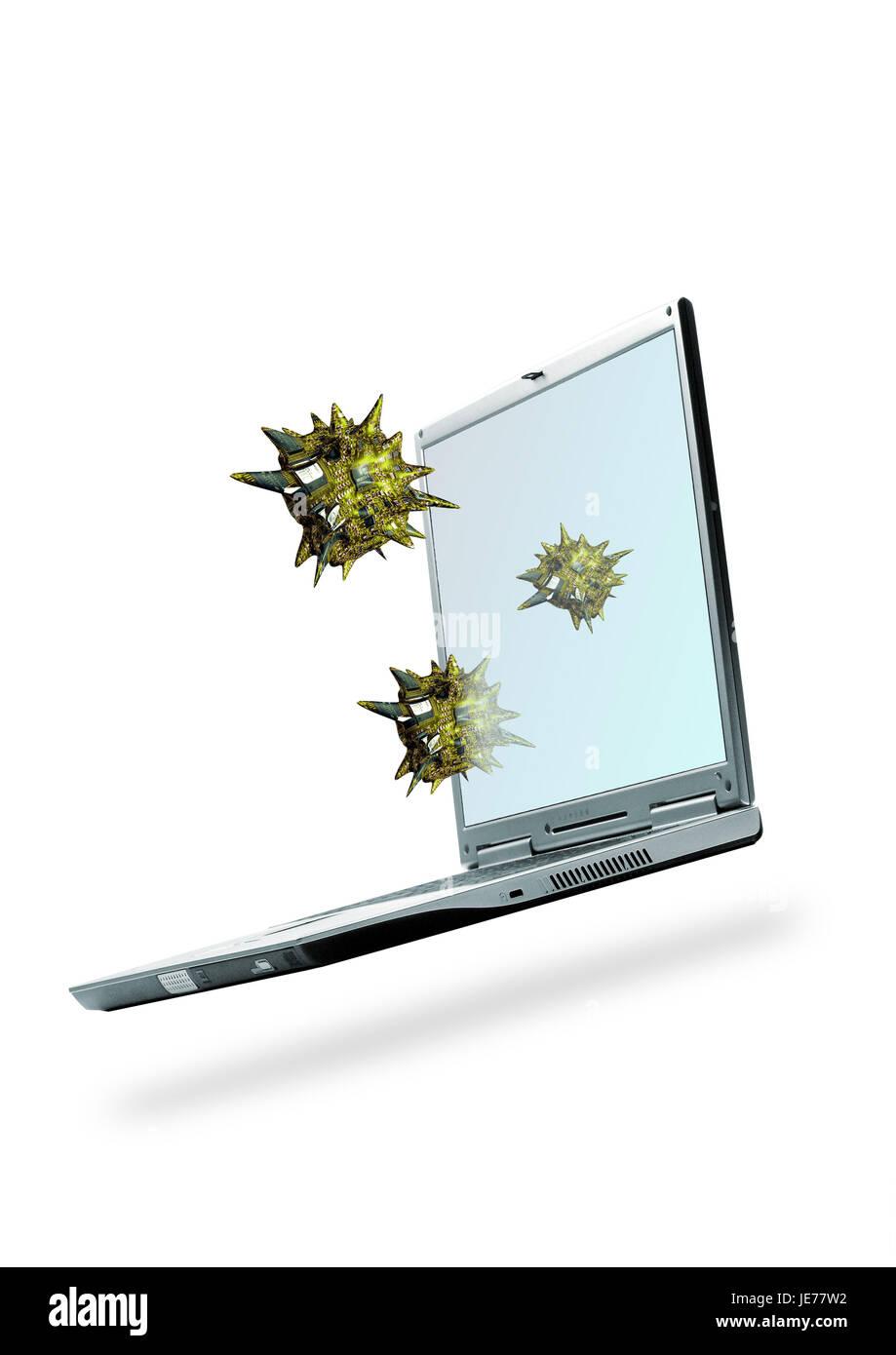Computer viruses, laptop, - Stock Image