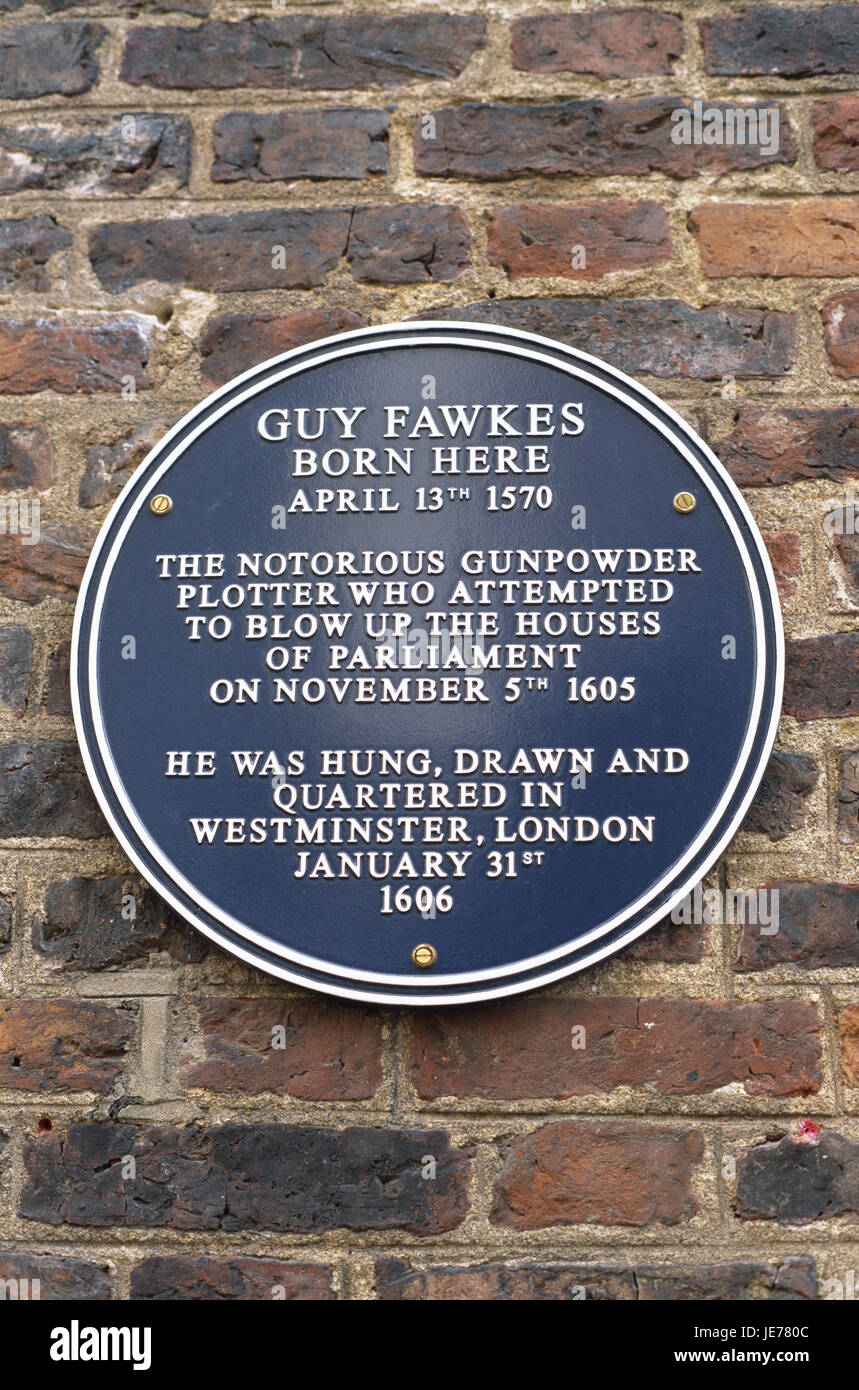 Great Britain, England, Yorkshire, York, brick defensive wall, information sign, 'Guy Fawkes', Europe, destination, - Stock Image