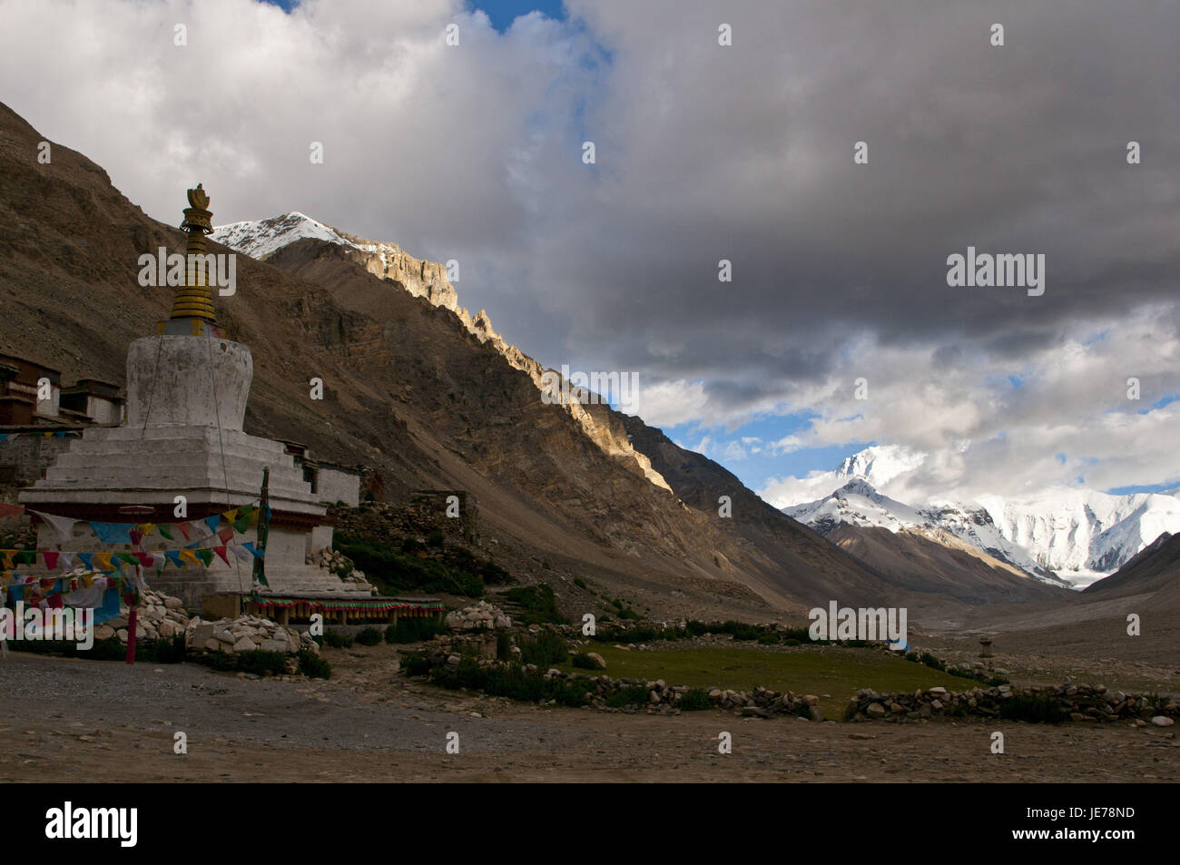 Cloister of Rongbuk at the foot of the Mount Everest, Tibet, Asia, - Stock Image
