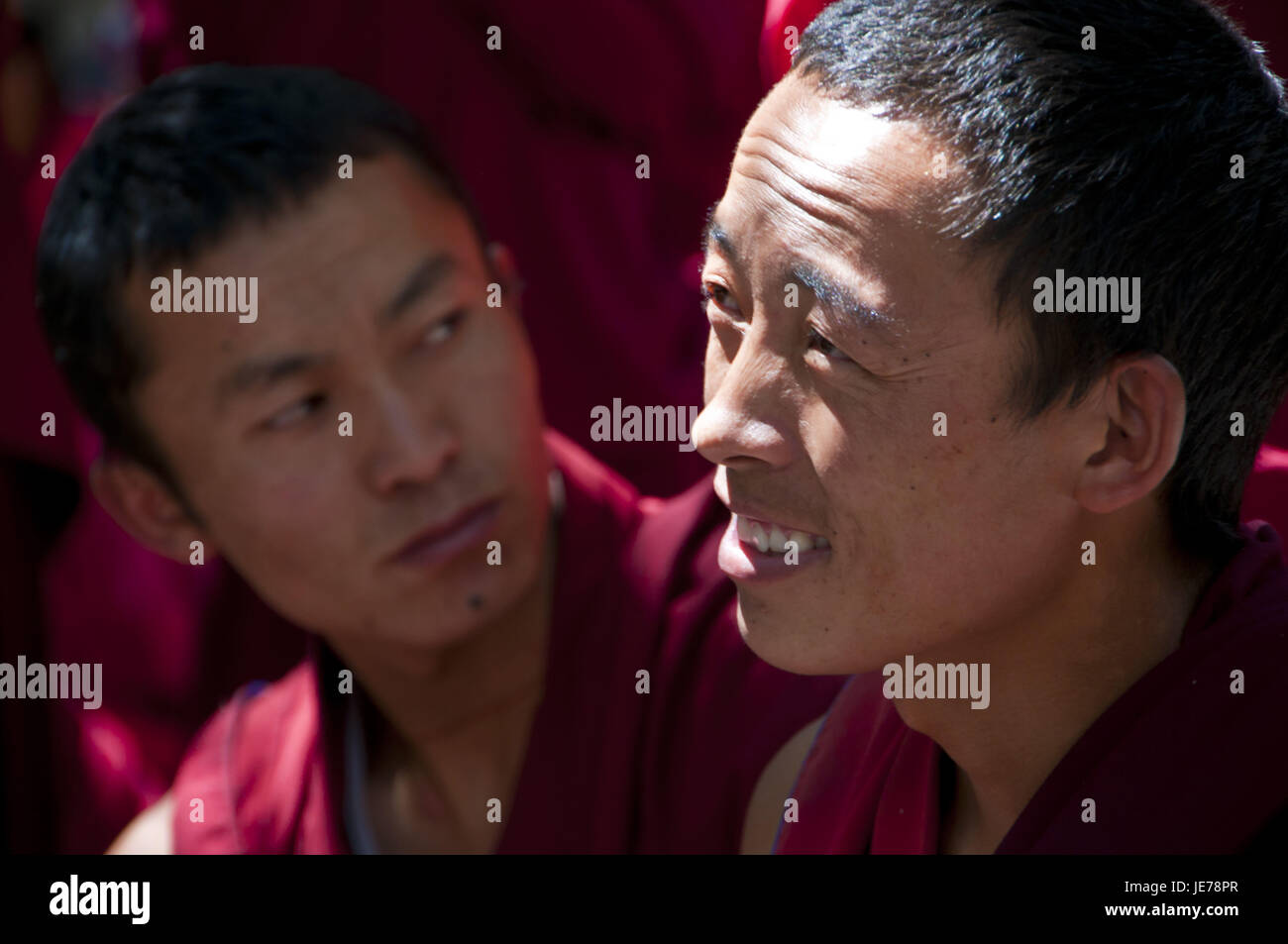 Young monks with the everyday discussion hour in the saga temple, Lhasa, Tibet, Asia, - Stock Image