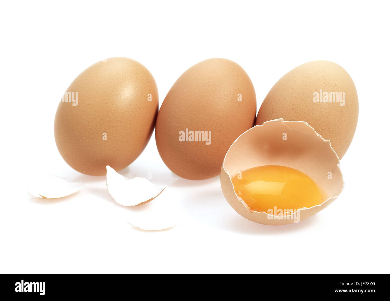 Poultry eggs, white background, - Stock Image