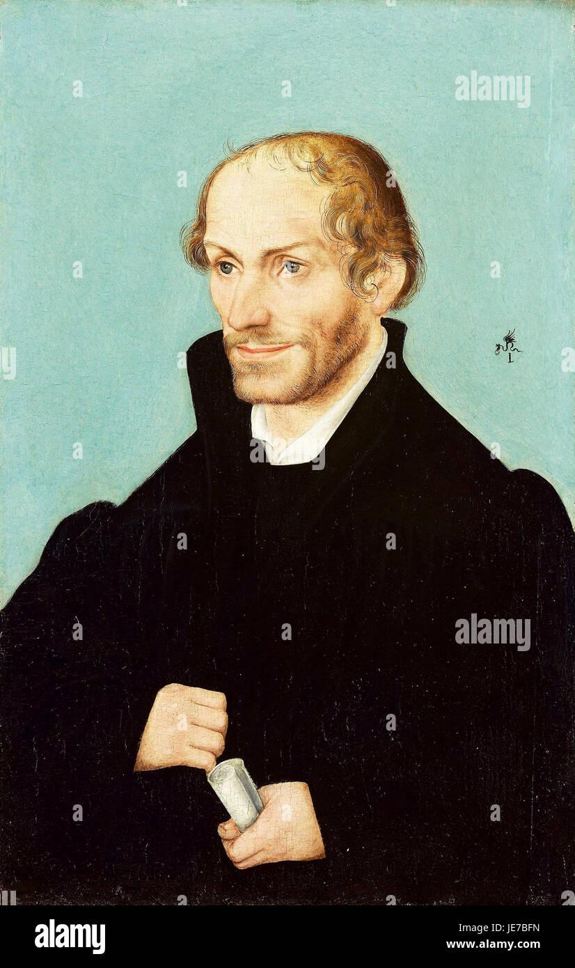 Workshop of Lucas Cranach (I) - Portrait of Philip Melanchton - Stock Image