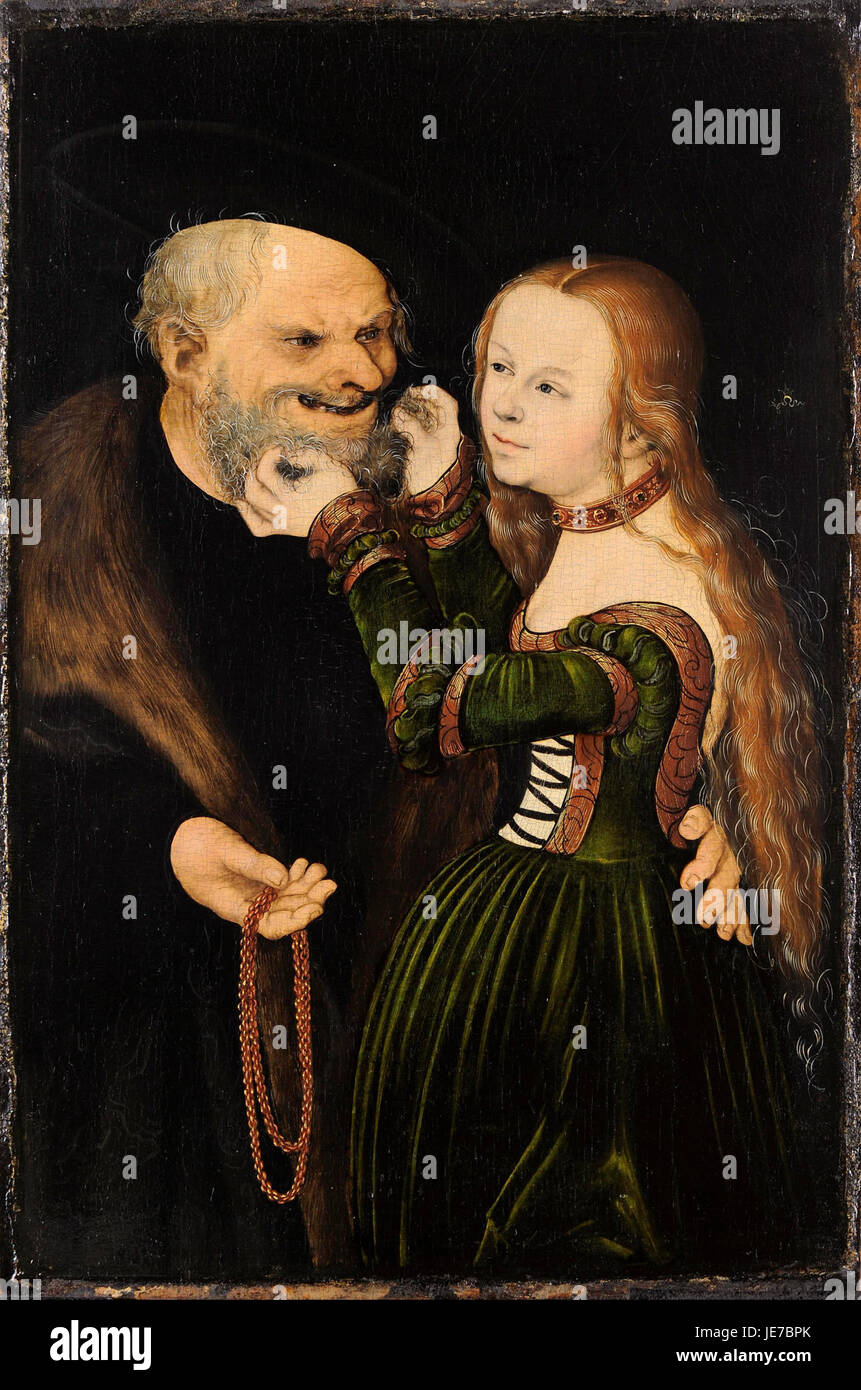 Lucas Cranach the Elder - The Unequal Couple (Old Man in Love) - - Stock Image