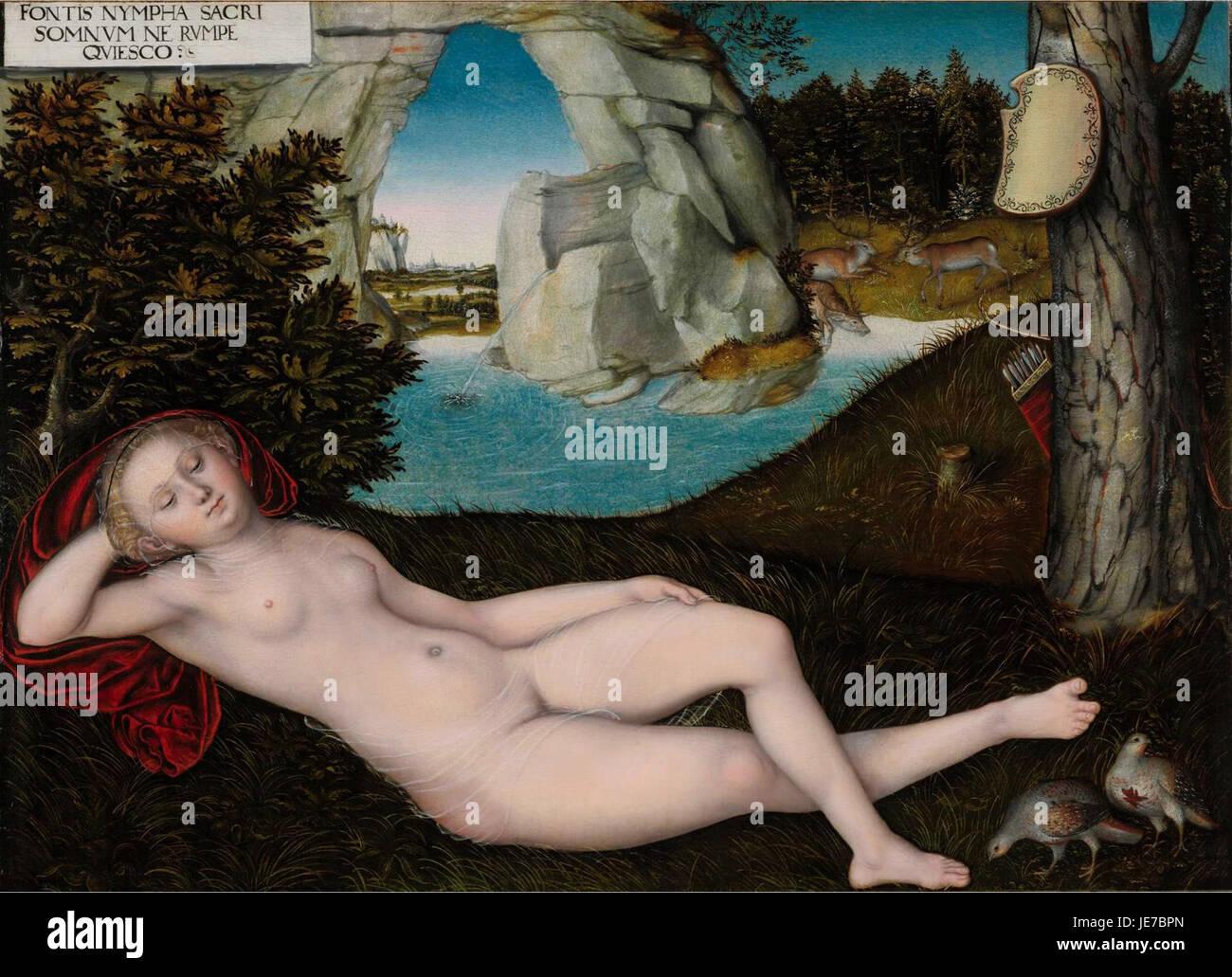Lucas Cranach d.J. - Quellnymphe (nach 1537) - Stock Image