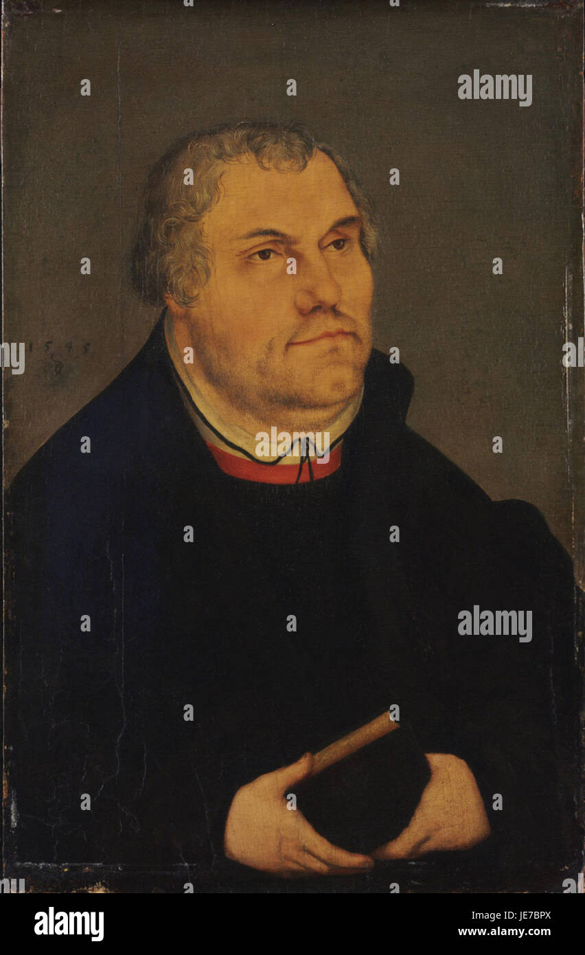 Lucas Cranach d.J. (Werkst.) - Bildnis des Martin Luther - Stock Image