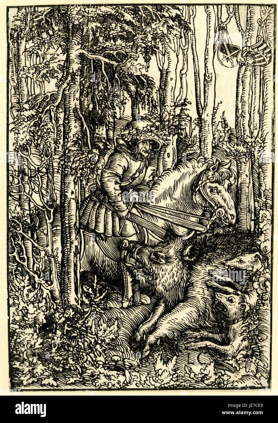A boar hunt by Lucas Cranach the Elder - Stock Image