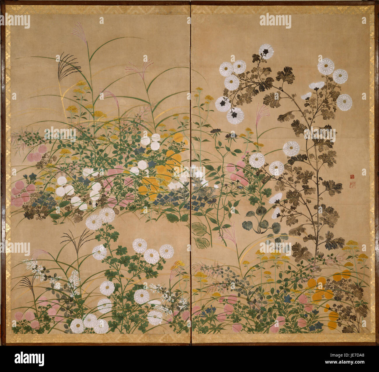 Attributed to Ogata Korin - Important Art Object Flowering Plants in Autumn - - Stock Image