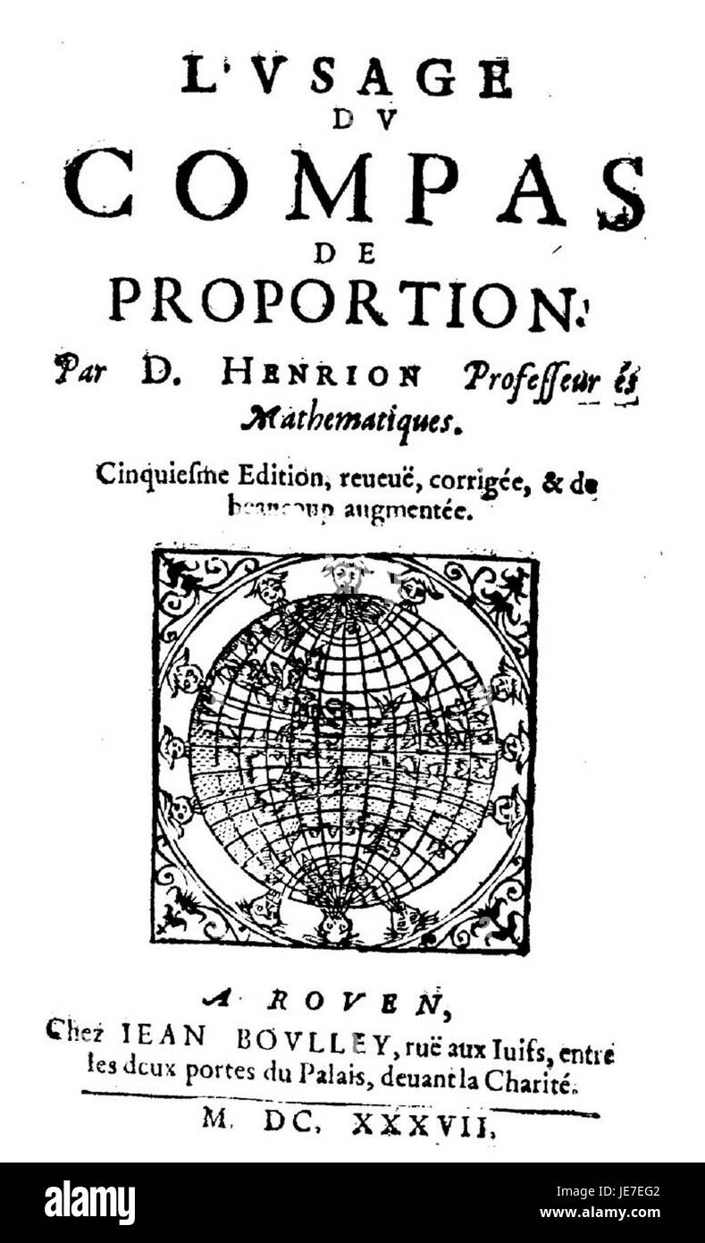 Cyriaque de Mangin - Usage du compas de proportion, 1637 - 218820 F - Stock Image