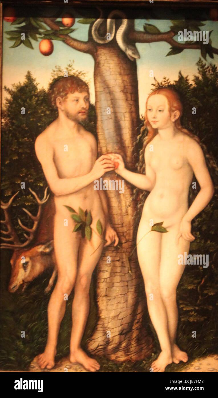 Lucas Cranach the Elder Adam and Eve - Stock Image