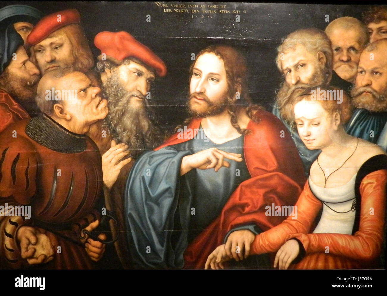 Lucas Cranach the Elder - Christ and the Adulteress (Museum of Fine Arts, Budapest) - Stock Image