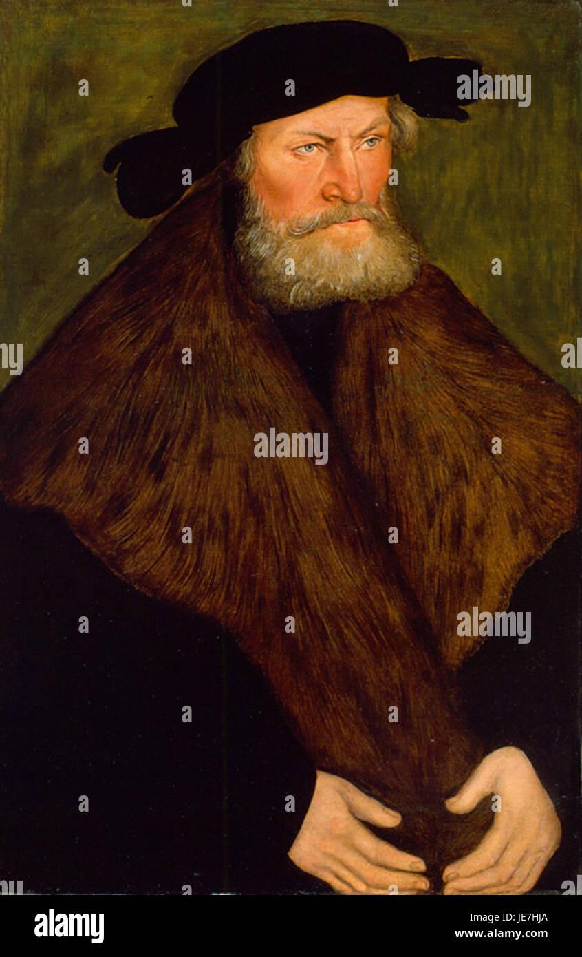 Portrait of Duke Henry the Devout of Saxony by Lucas Cranach the Elder, oil on panel, 1528, High Museum of Art - Stock Image