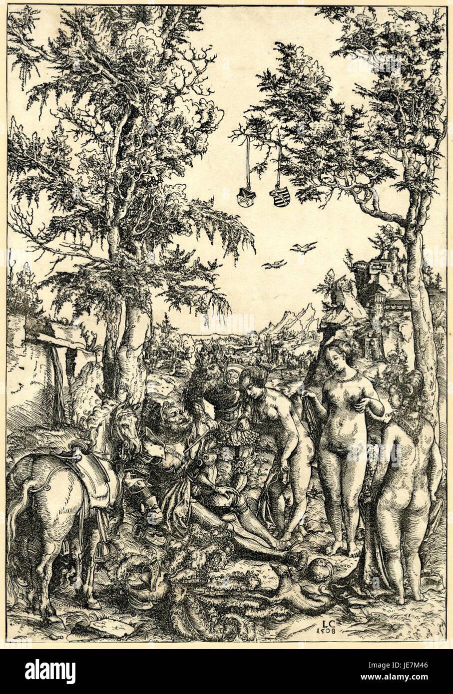 The Judgement of Paris by Lucas Cranach the Elder 1508 - Stock Image