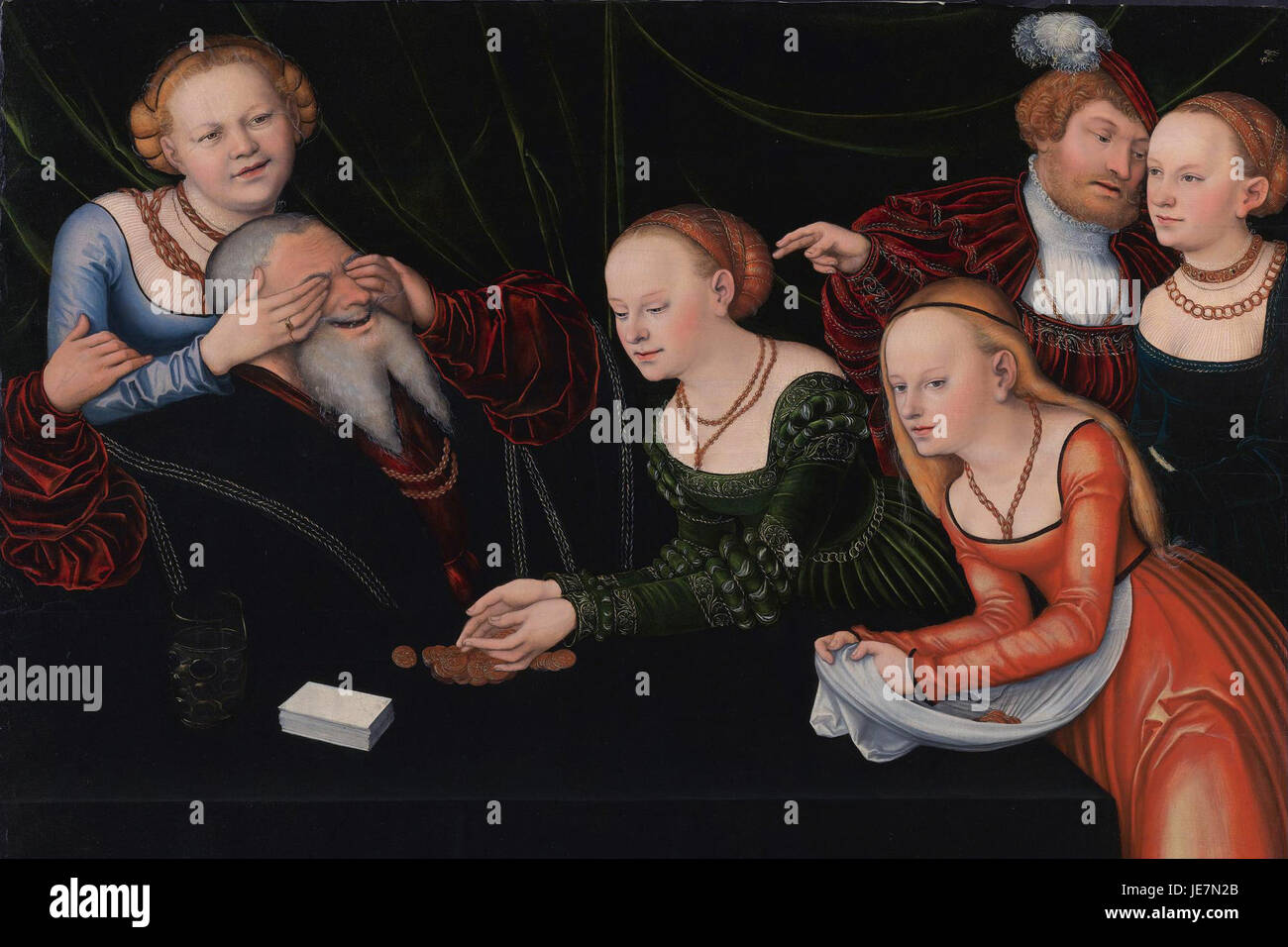 Old man beguiled by courtesans by Lucas Cranach the elder - Stock Image