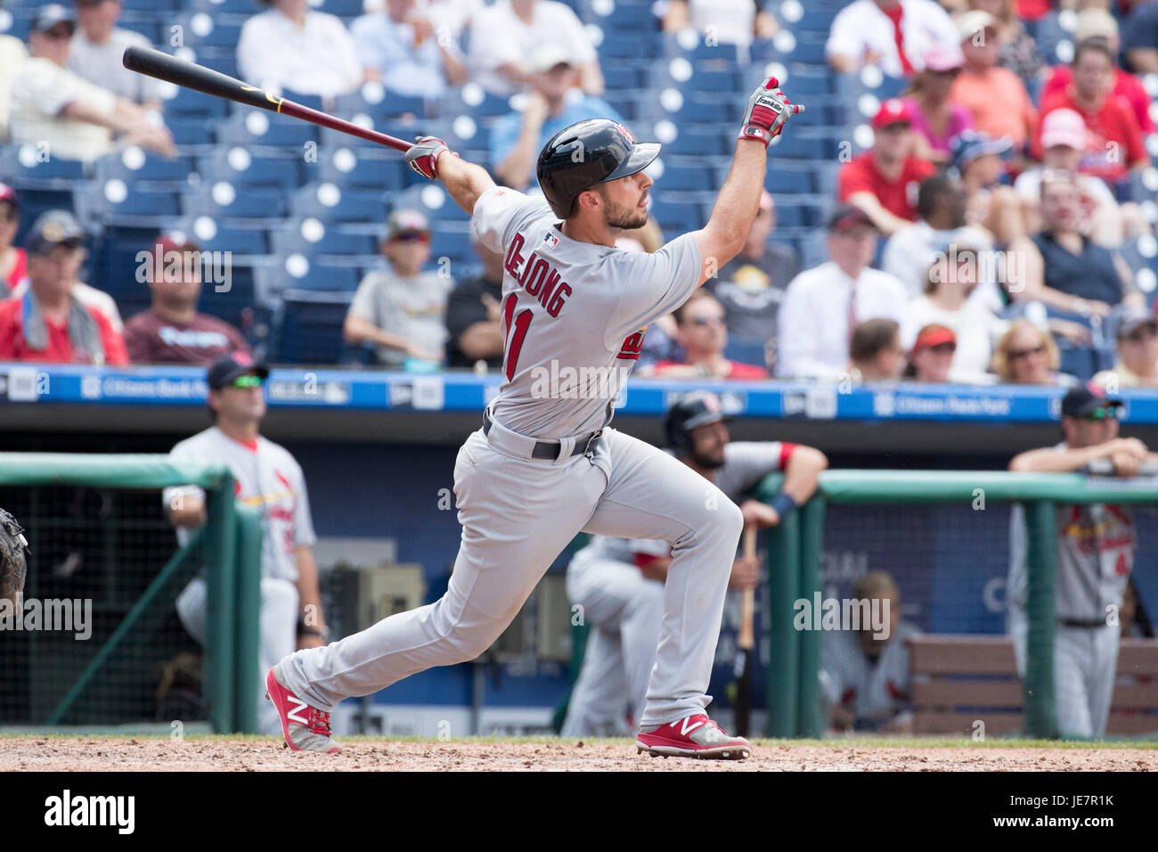June 22, 2017: St. Louis Cardinals second baseman Paul DeJong (11) hits a solo home run during the MLB game between - Stock Image
