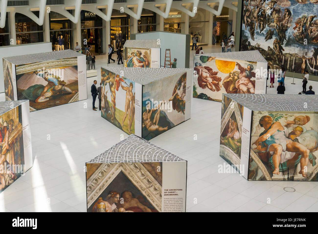 New York, USA. 22nd June, 2017. Near life-size reproductions of Michelangelo's Sistine Chapel frescoes are seen Stock Photo