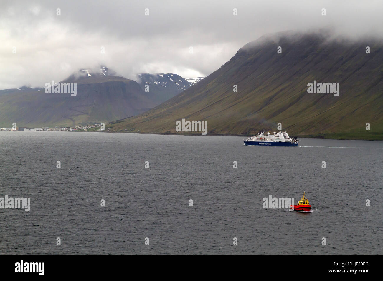 Isafjörður, Iceland. 23rd June, 2017. Grey skies over Isafjorour in Iceland Credit: Keith Larby/Alamy - Stock Image