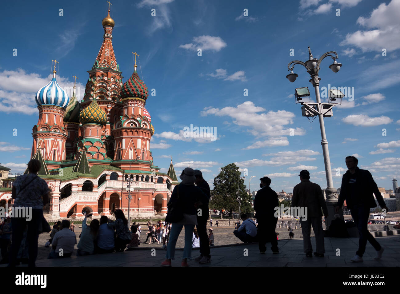 Saint Basil's Cathedral under a blue sky in Moscow, Russia, 20 June 2017. Photo: Marius Becker/dpa Stock Photo