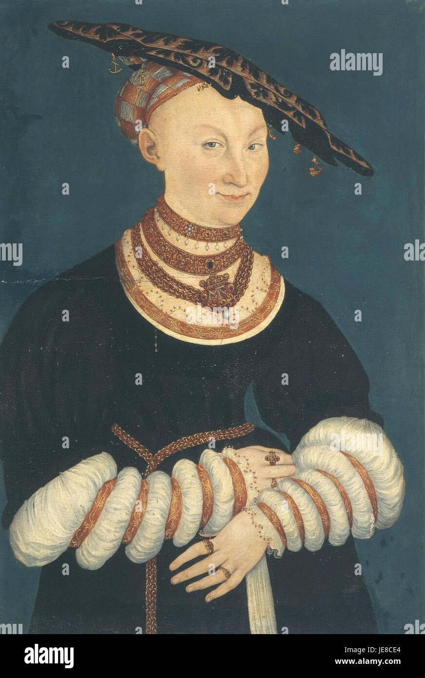 Lucas Cranach d.J. - Herzogin Katharina von Mecklenburg (Veste Coburg) - Stock Image