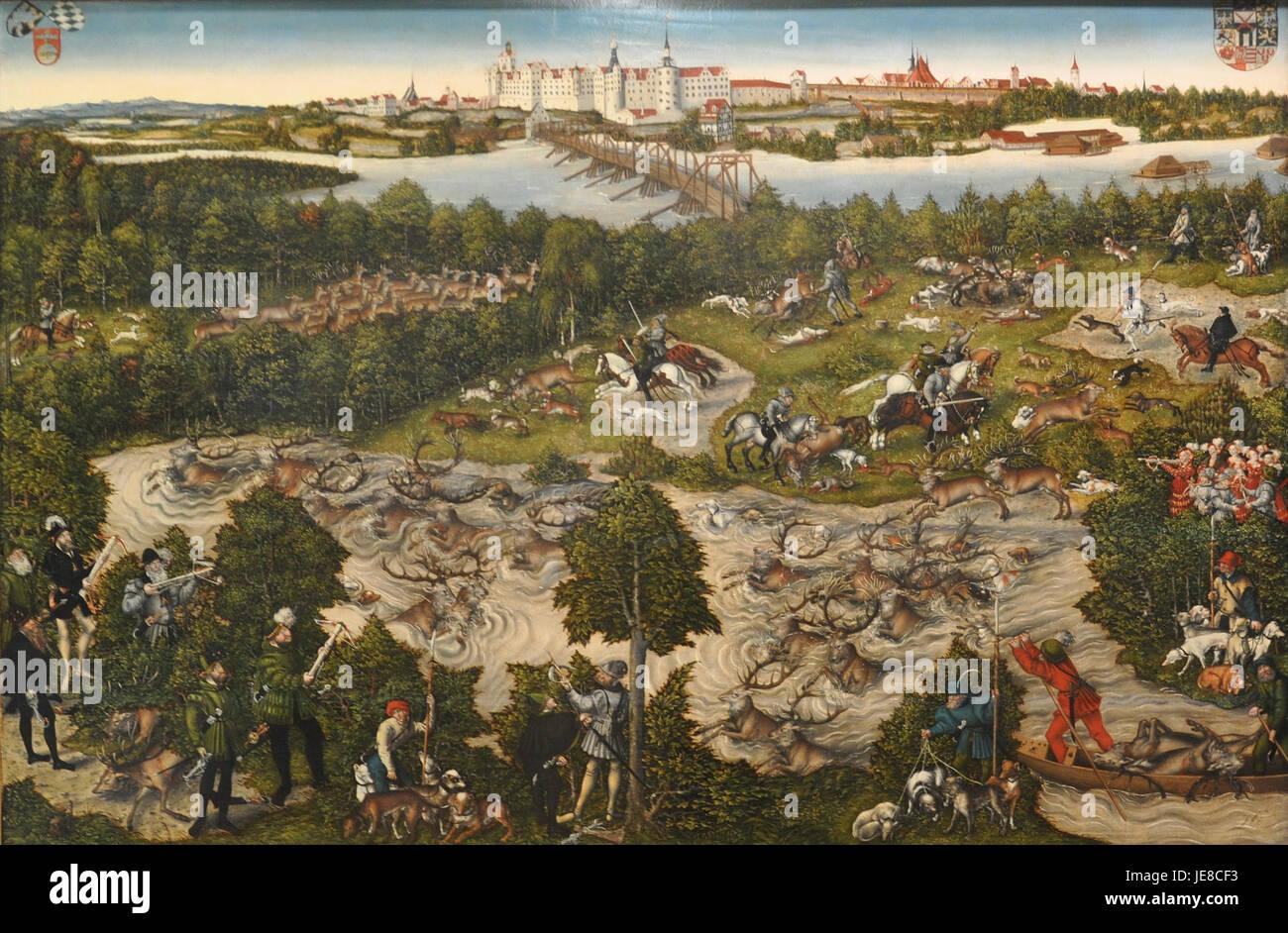 Lucas Cranach dJ Hirschjagd KHM 1 - Stock Image