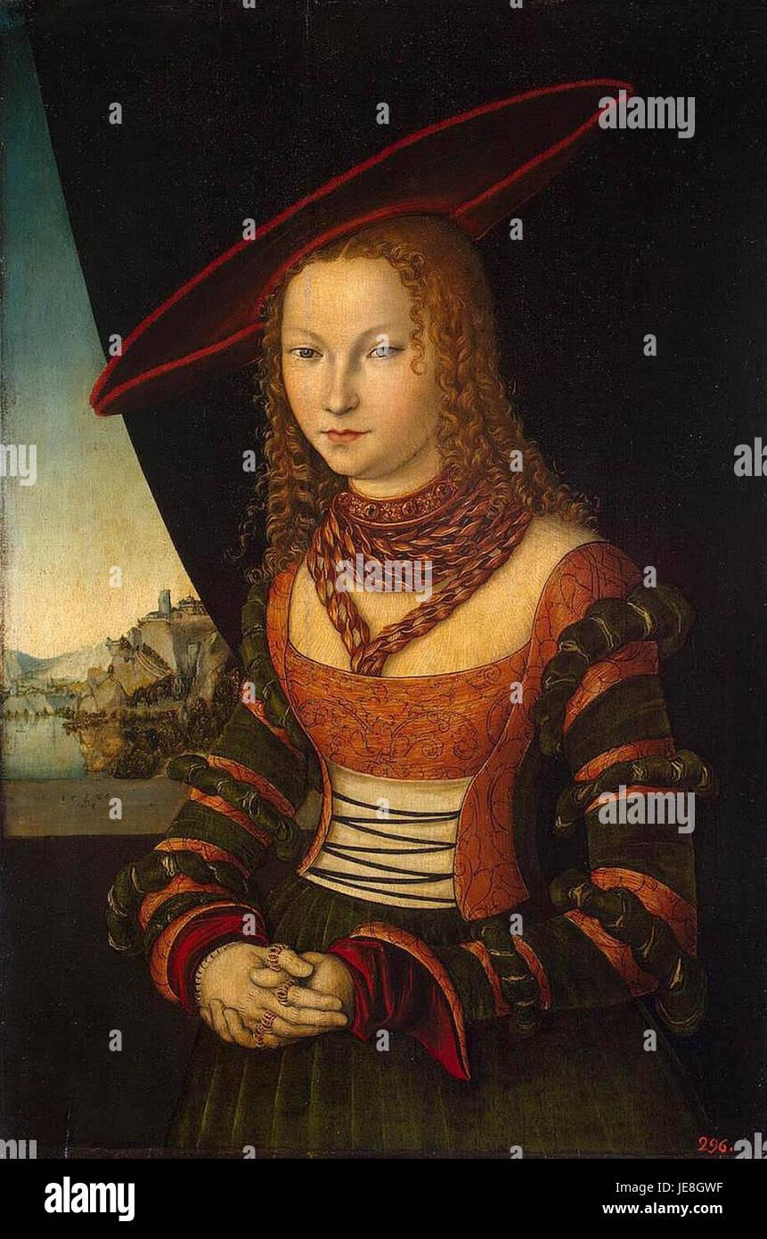 Cranach, Lucas the Elder - Portrait of a Woman - 1526, Hermitage - Stock Image