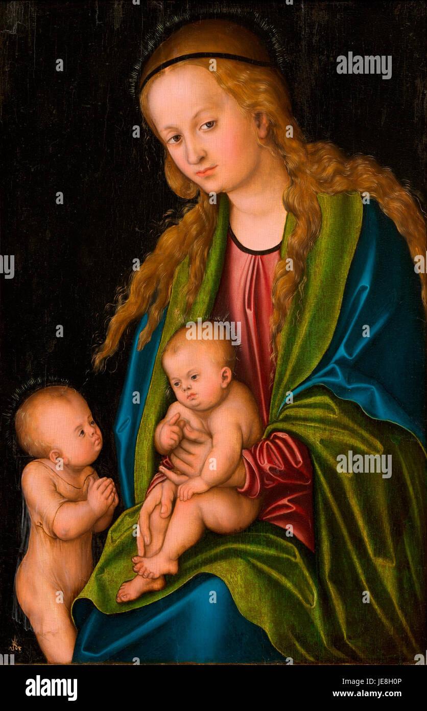 Lucas Cranach (I) - Madonna mit Kind und Johannesknaben (Bonnefantenmuseum) - Stock Image