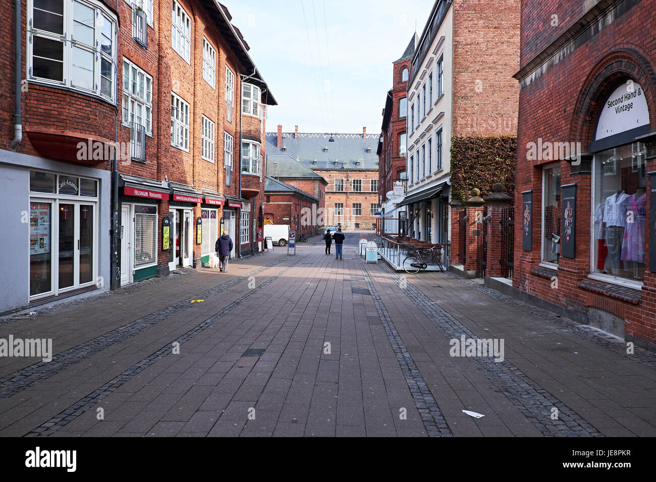 ELSINORE, DENMARK - APRIL 30, 2016: The deserted pedestrian streets of Elsinore, with low housing - Stock Image
