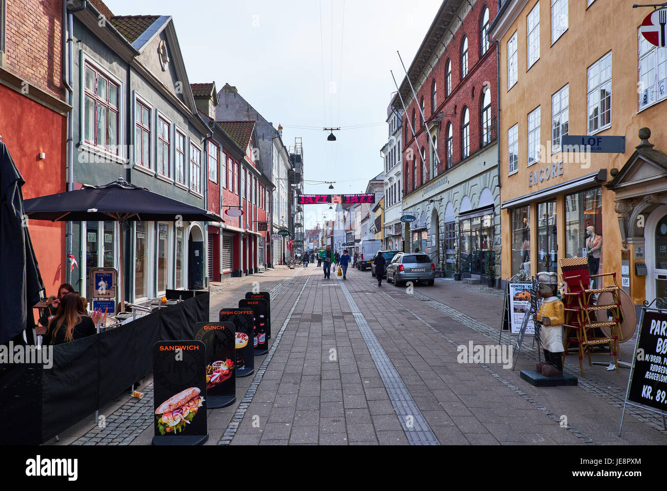 ELSINORE, DENMARK - APRIL 30, 2016: sandwich bar in an empty pedestrian street in Esinore - Stock Image