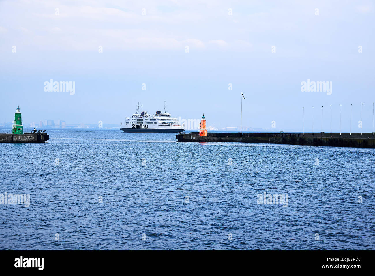 ELSINORE, DENMARK - APRIL 30, 2016: Ferry from the company Scandlines just outside Elsinore harbor, on its way to - Stock Image