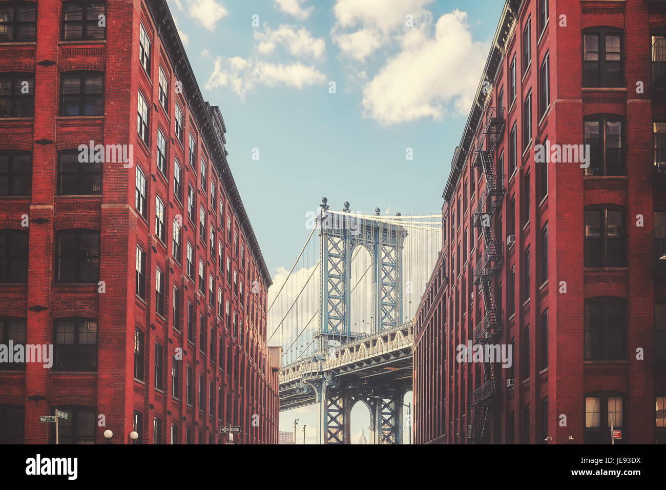 Color toned picture of Manhattan Bridge seen from Dumbo, New York City, USA. - Stock Image