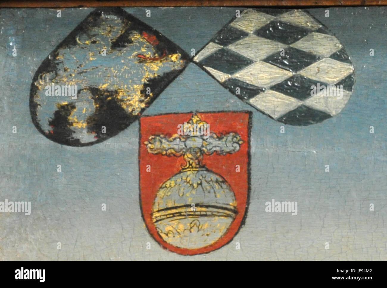 Lucas Cranach dJ Hirschjagd KHM Wappen links - Stock Image