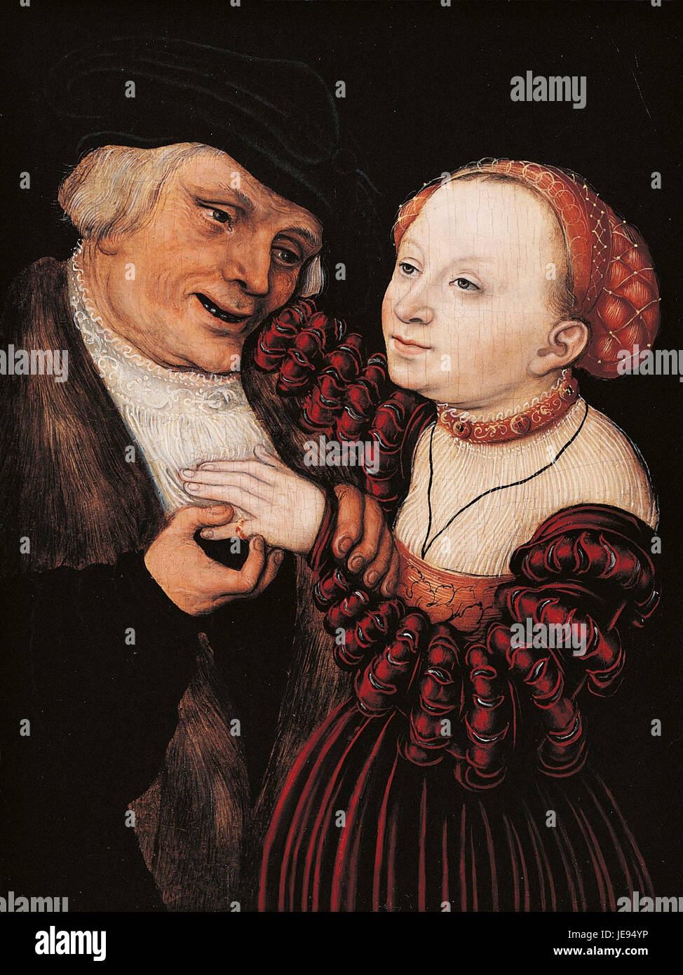 Lucas Cranach d. J. - The Ill Matched Lovers - WGA05734 - Stock Image