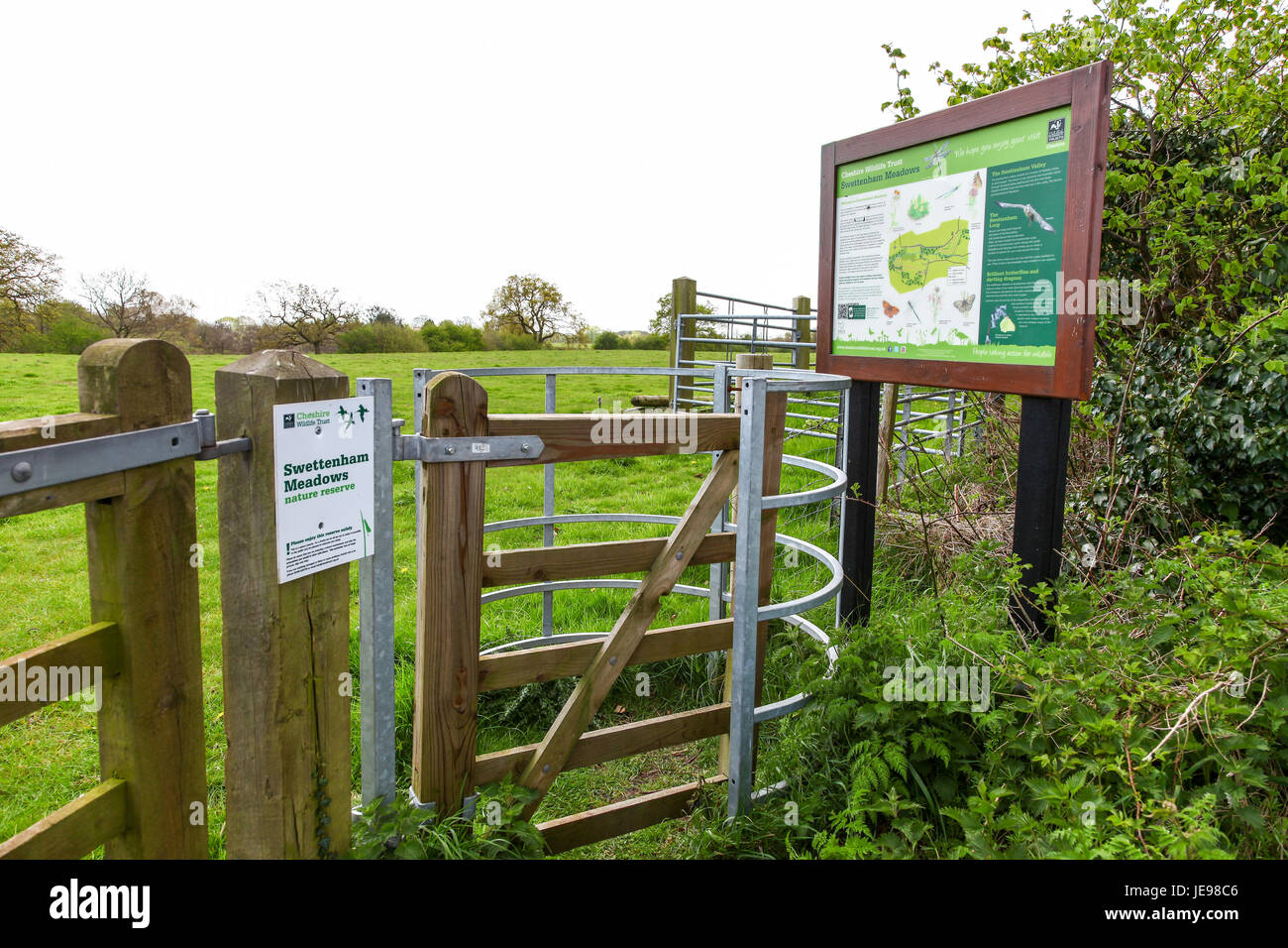 A sign or notice board at Swettenham Meadows nature reserve run by Cheshire Wildlife Trust, Swettenham Cheshire - Stock Image