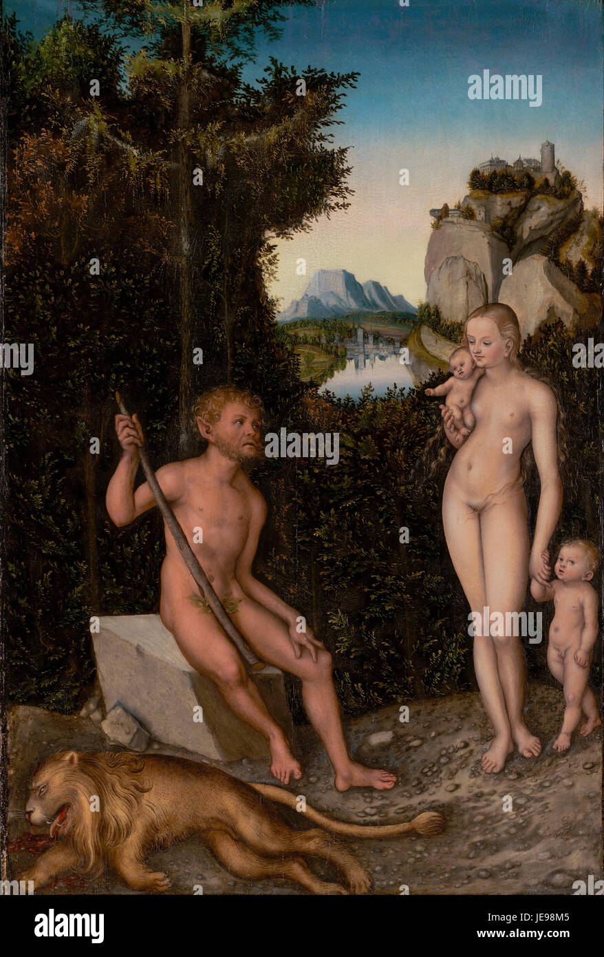 Lucas Cranach the Elder - A Faun and his Family with a slain Lion - - Stock Image