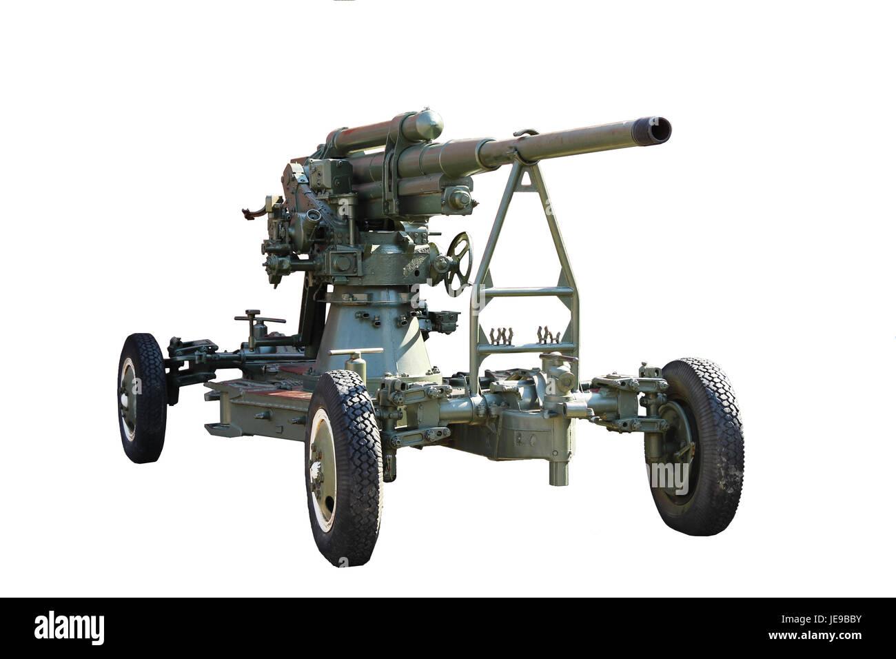 Gun. Anti-aircraft gun on wheels isolated on white background - Stock Image
