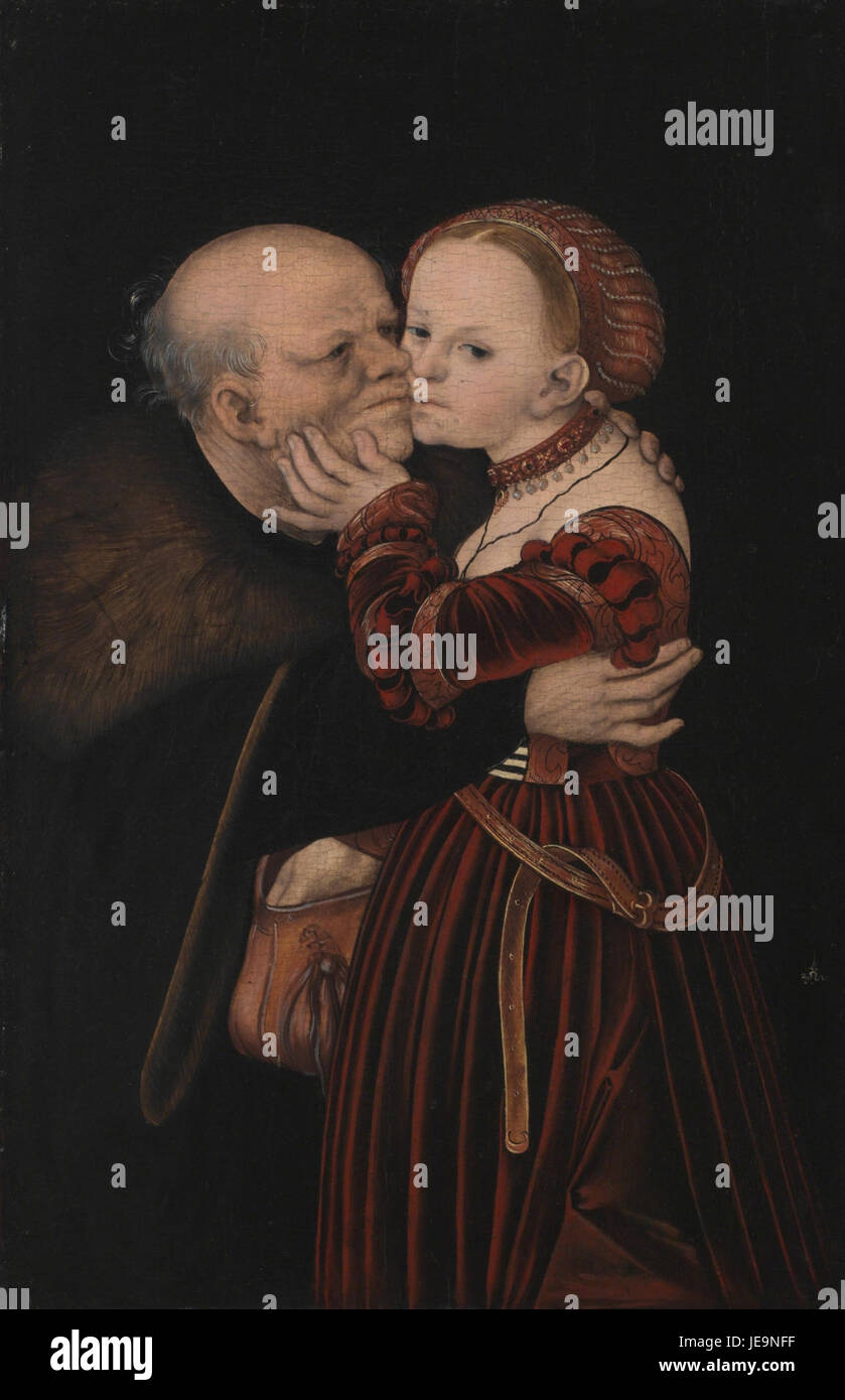 Lucas Cranach (I) - Ill-Matched Lovers (National Galery, Prague) - Stock Image