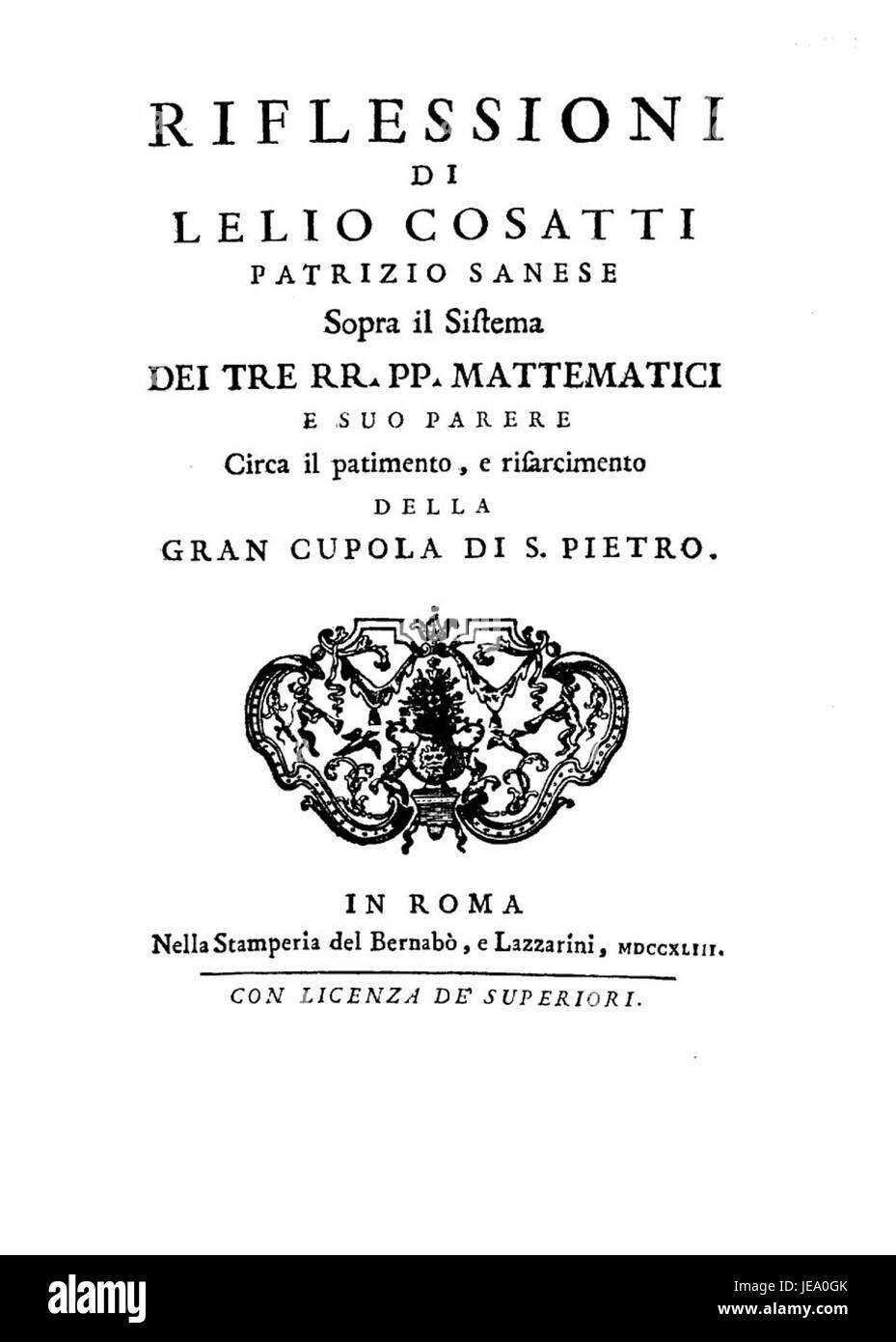 Cosatti - Riflessioni sopra il sistema dei tre rr. Pp. Matematici e suo parere circa il patimento e risarcimento - Stock Image