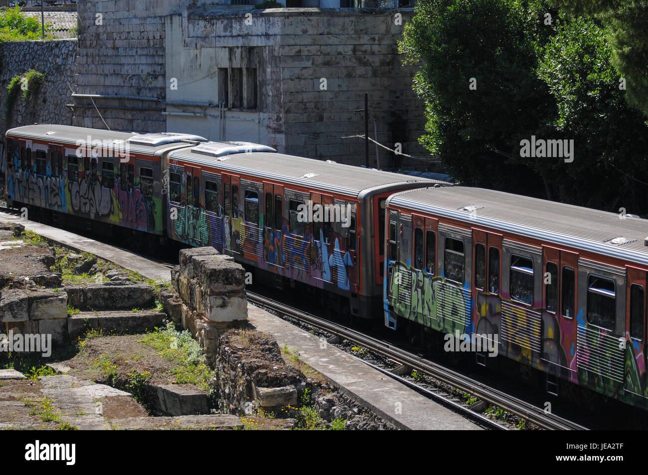 Athens metro and greek ruins in Monastiraki district, Athens (Greece)Stock Photo