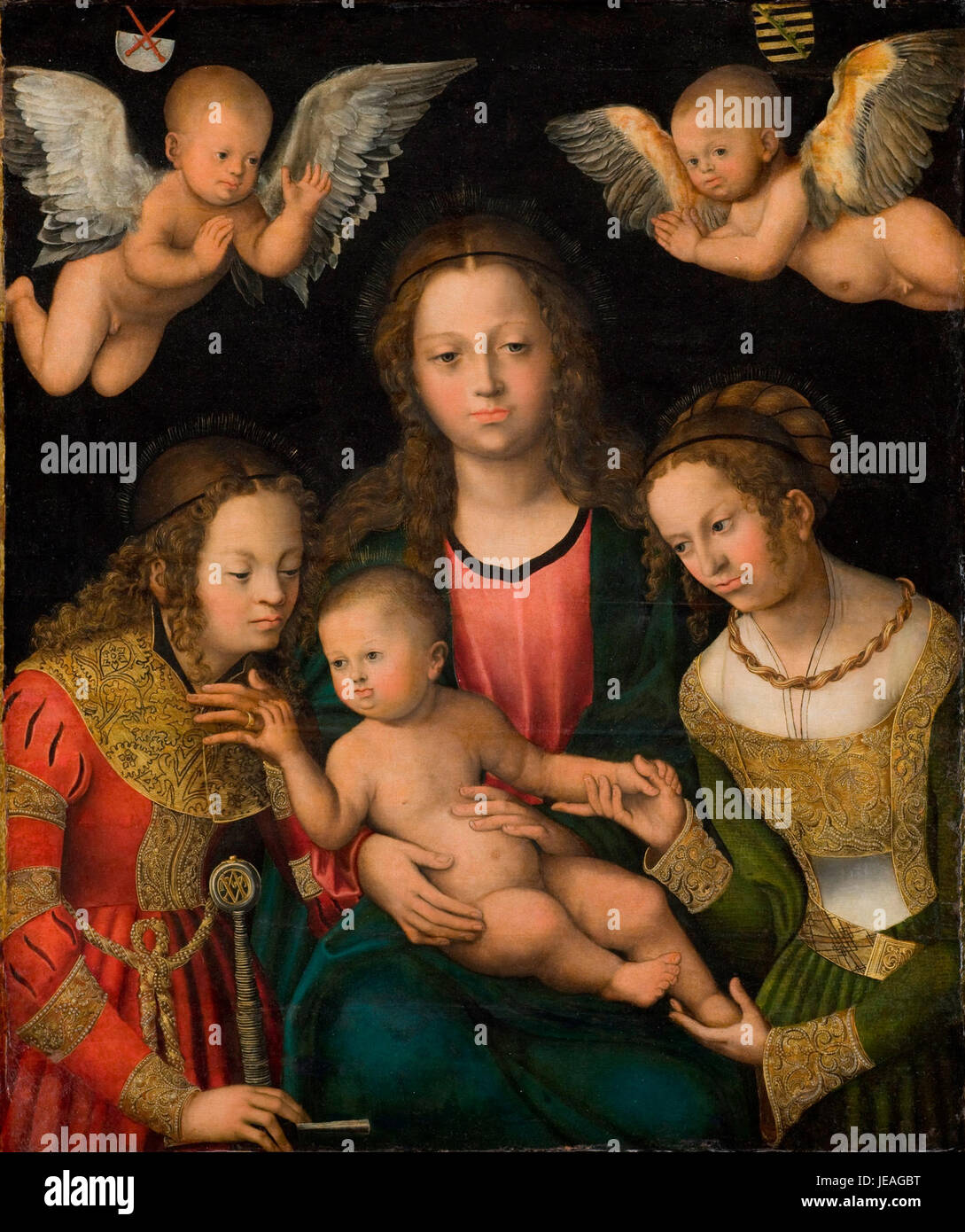 Cranach, Lucas (I) - Virgin and Child with the Saints Catherine and Barbara - Statens Museum for Kunst - Stock Image