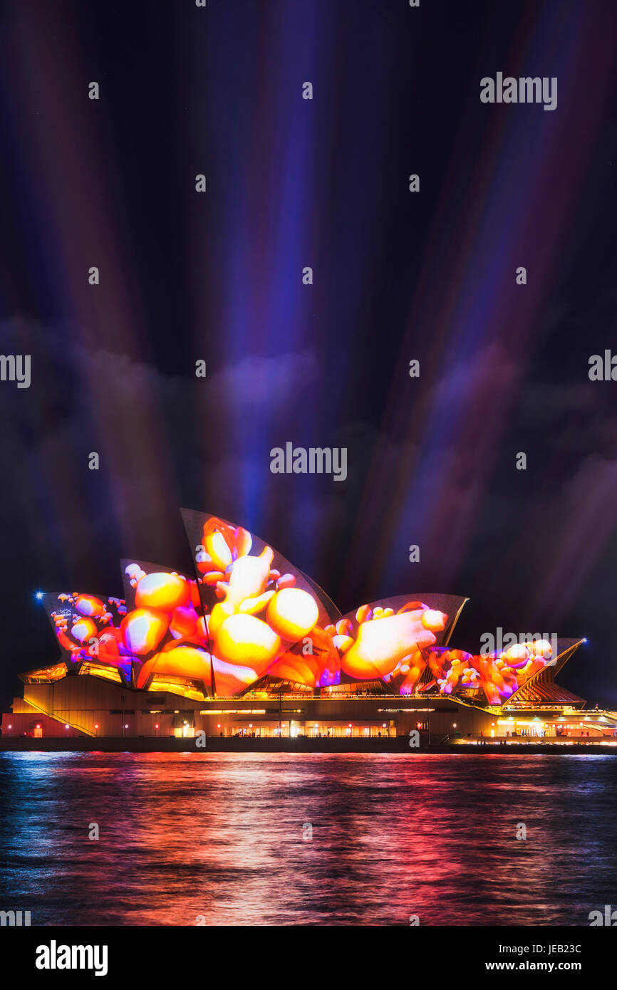 Sydney, Australia - 8 June 2017: Sydney opera house during Vivid Sydney light show with projection of video image - Stock Image