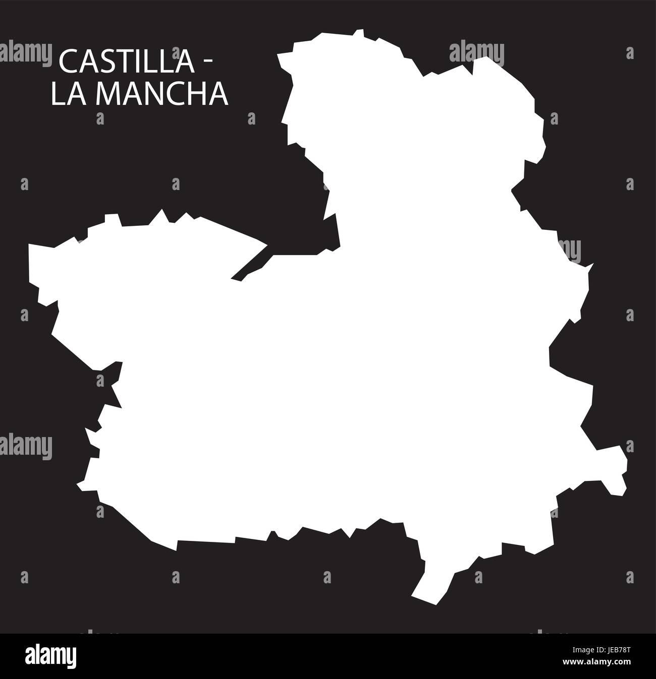 La Mancha Spain Map.Castilla La Mancha Spain Map Black Inverted Silhouette