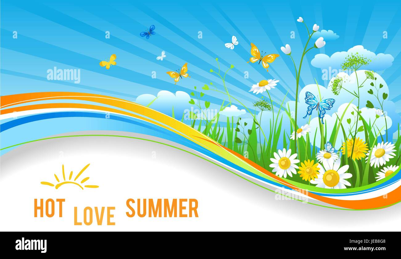 Hot summer banner. Nature template for design banner, ticket, leaflet, card, poster and so on. - Stock Vector