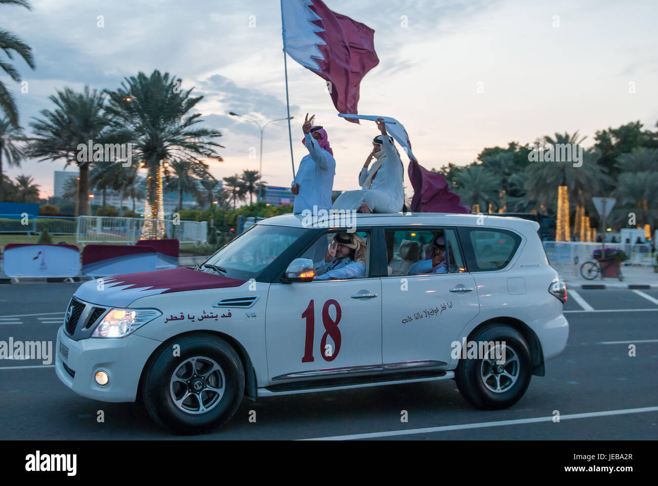 18th December 2012.  Doha.  Qatar.  The 18th December is when Qatar National Day is celebrated.  Nissan Patrol 4X4 Stock Photo