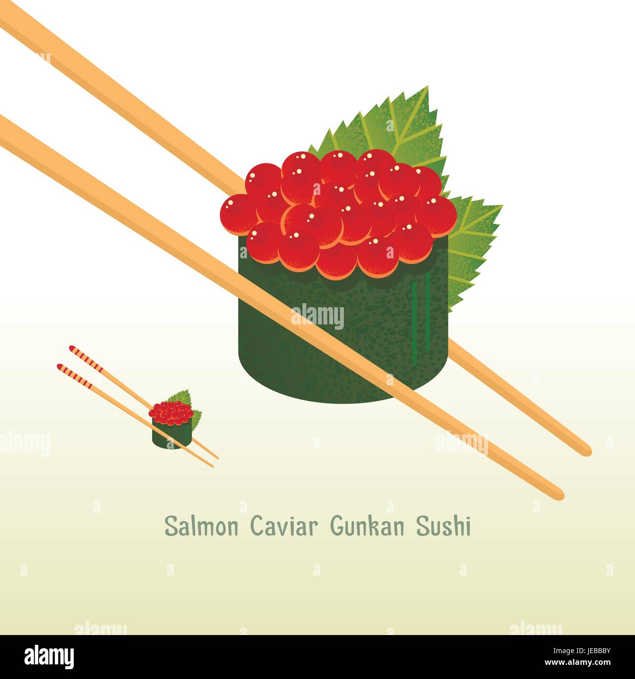 Red Caviar Gunkan Sushi vector illustration. All objects are conveniently grouped and easily editable. - Stock Vector