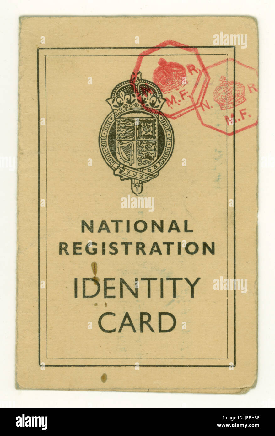 National Registration Identity Card from Wold War 2 (WW11) for a child, dated May 22nd 1940, UK - Stock Image